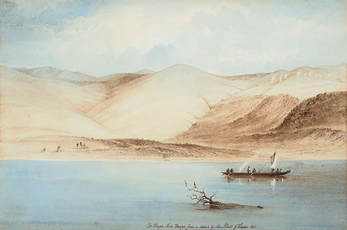 Te Rapa, Lake Taupo, 1862, New Zealand, by Reverend John Kinder. Purchased 1993 with New Zealand Lottery Grants Board funds. Te Papa (1993-0029-2)