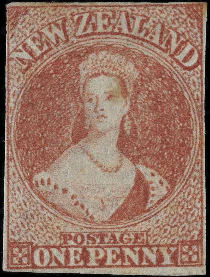 Issued one penny 'Full-Face Queen' [Chalon Head] definitive stamp, 1862, New Zealand, by John Davies, William Humphrys. The New Zealand Post Museum Collection, Gift of New Zealand Post Ltd., 1992. Te Papa (PH000781)