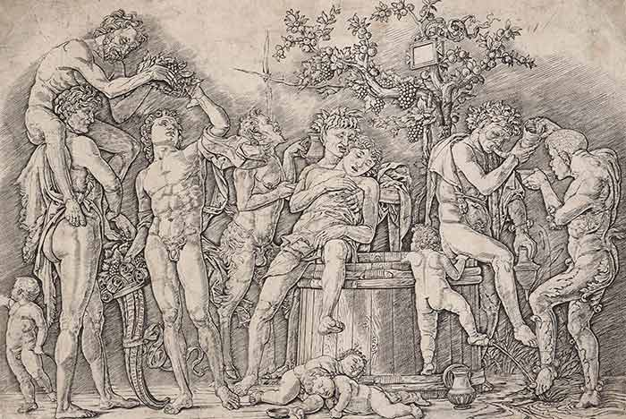 Bacchanal with a wine vat., circa 1475, Mantua, by Andrea Mantegna. Gift of Bishop Monrad, 1869. Te Papa (1869-0001-308)
