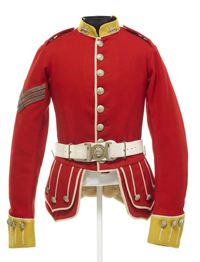 Gordon Highlanders uniform, 1880s-1950s, London, by Hebbert & Co. Ltd.. Gift of Mrs Beatrice Simpkins, 1971. CC BY-NC-ND licence. Te Papa (PC001695)