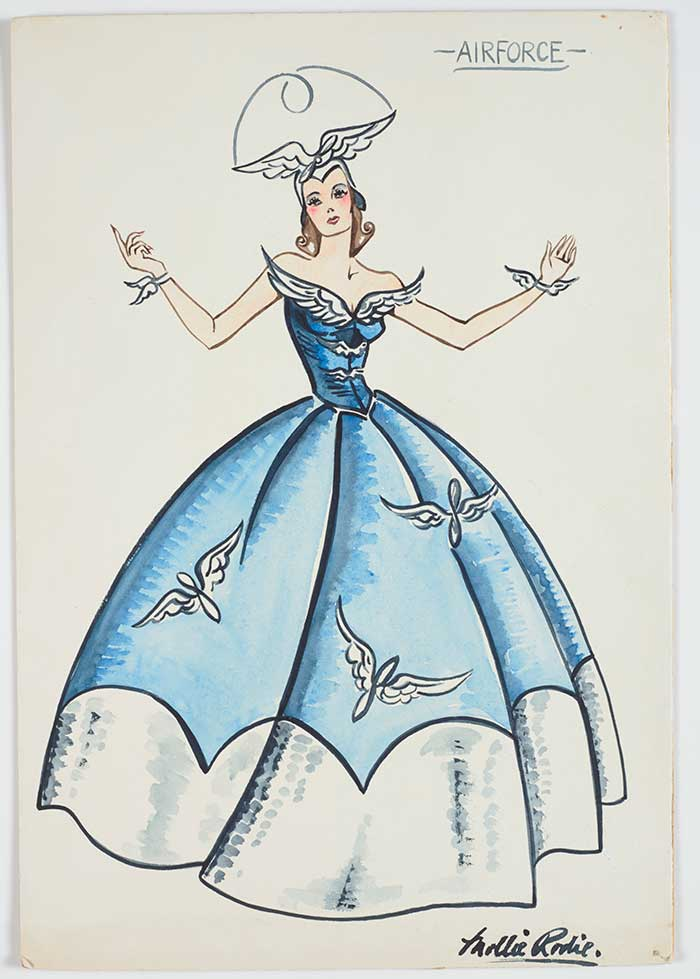 Costume design for Victory Queen Carnival, 'Airforce', 1941, Wellington, by Mollie Rodie. Gift of Marion F. Mackenzie (née Rodie), 2009. © Te Papa. CC BY-NC-ND licence. Te Papa (GH016545)