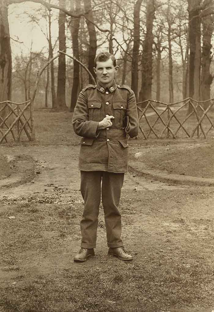 WWI soldier Allan McMillan in the grounds of Oatlands Park, Surrey, England, 1918, England, maker unknown. Acquisition history unknown. Te Papa (O.031469)