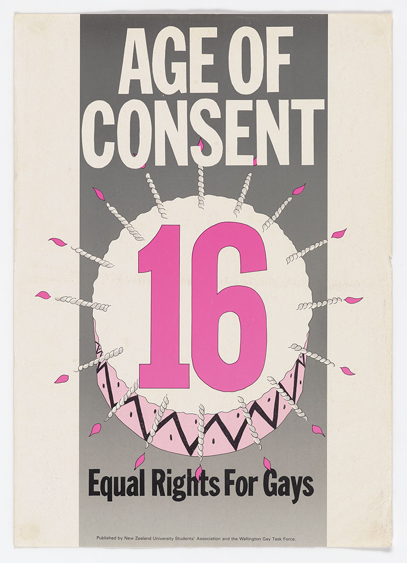 Poster featuring an illustration of a cake with 16 written on it and 16 candles, with the words 'Age of Consent' and 'Equal rights for gays' on it
