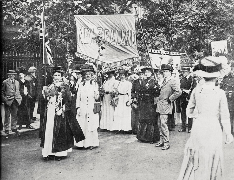 The New Zealand contingent in the Hyde Park suffrage procession