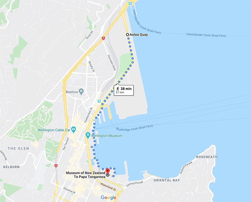 Screenshot of Google Maps showing the directions for walking from Aotea Quay to Te Papa