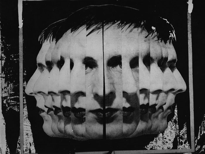Black and white graphic splicing up images of a face