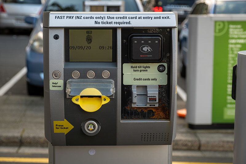 Close up of the machine that dispenses carpark tickets