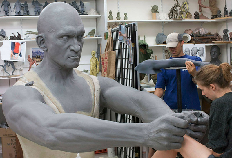 One of the huge models in the exhibition takes shape at Weta Workshops