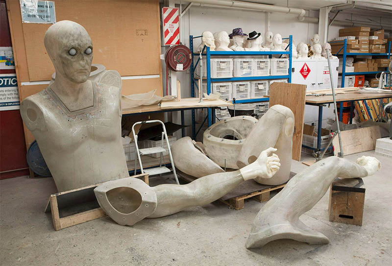 The fibreglass bodyparts of the figures