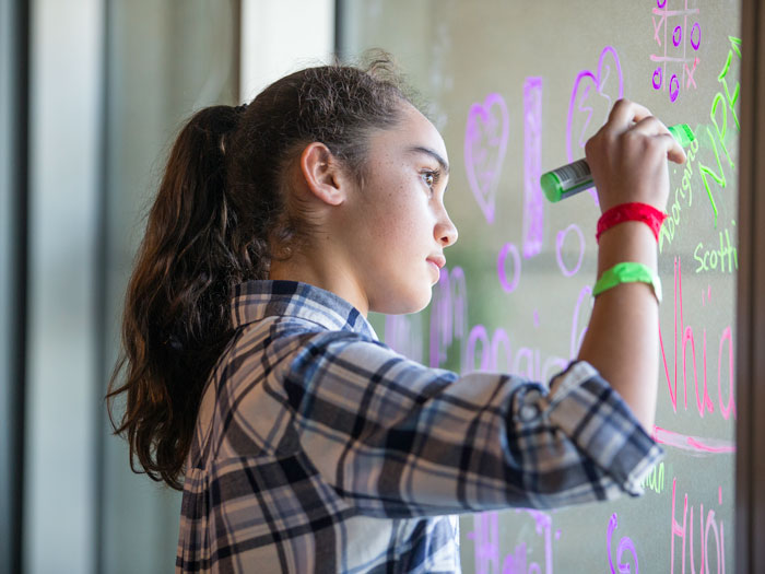 Girl drawing on a window