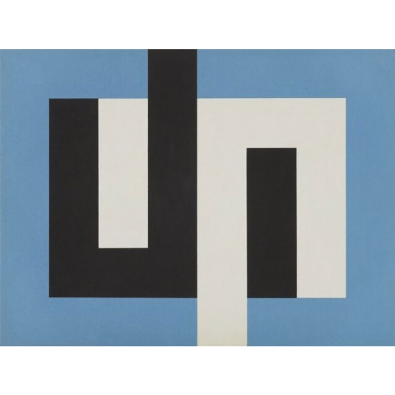 A painting made up of blue white and black rectangles