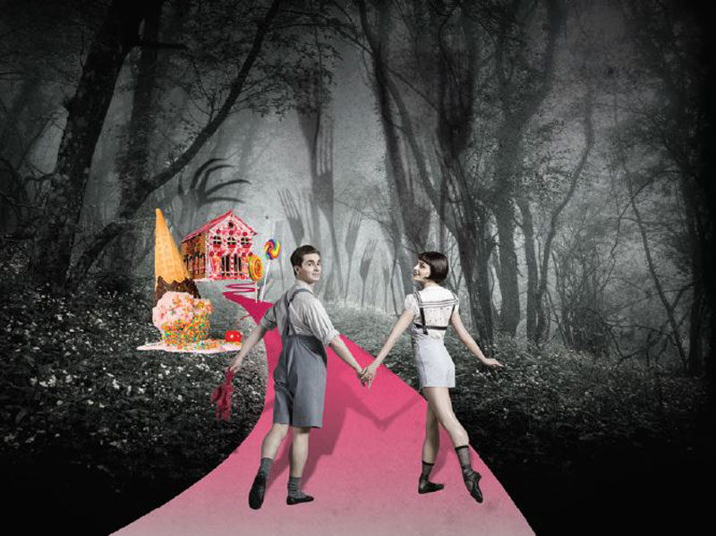 Two ballet dancers dress as Hansel & Gretel