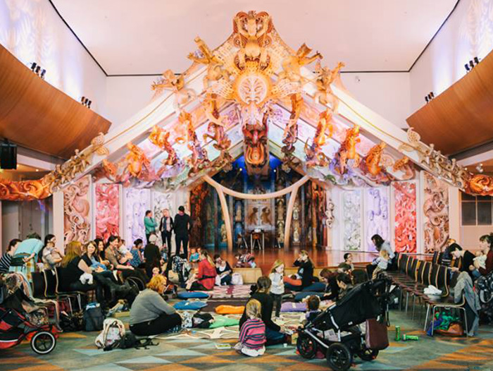 Mothers and babies relax on Te Papa's marae