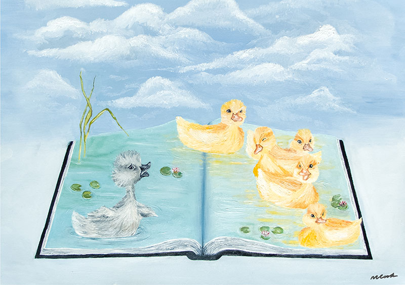 Painting of an open book. on the pages, five yellow ducklings and one grey duckling float on water. Behind the book are clouds
