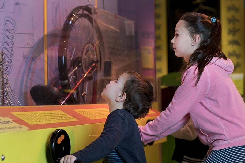 Children using a museum interactive