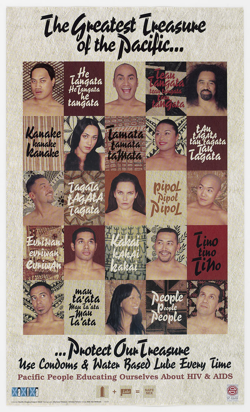 Poster showing faces of many people and the words 'THe greatest treasure of the Pacific ... Protect our treasure ... use condoms and water based lube every time'