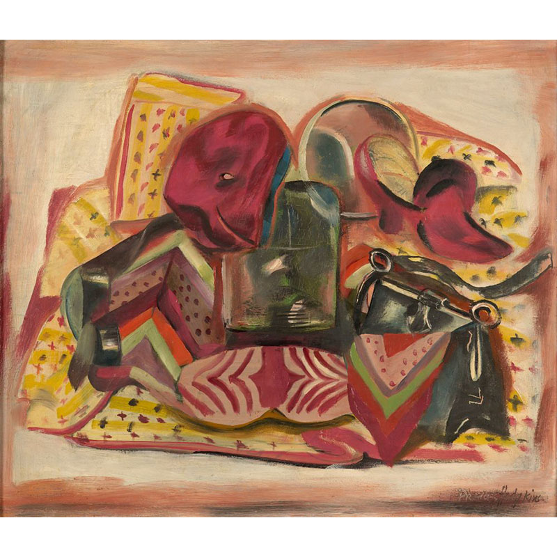 Still-life painting depicting various personal items including a handbag, scarf, hat, and mirror