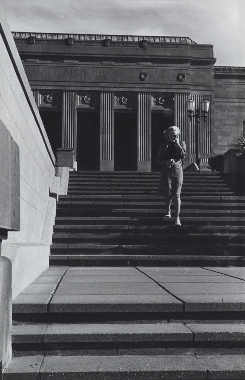 View of Eric's wife Vivienne as seen walking down a set of steps that lead to the entrance to the National War Memorial (the Carillion); in sight in the background here is the front entrance to the National Museum (built in 1936).