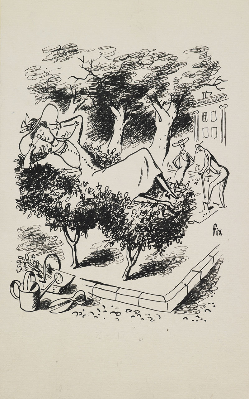 Drawing of a woman resting on top of two short bushy trees. In the background can be seen a man and a woman gardening, and a house