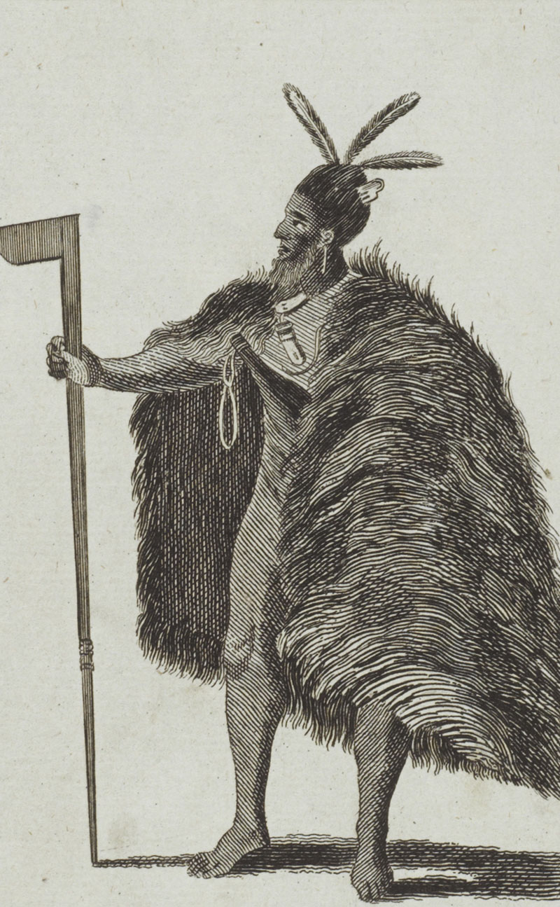 Drawing of a Māori warrior dressed for battle – he wears a cloak, an axe-shaped weapon, and has a mere in his belt