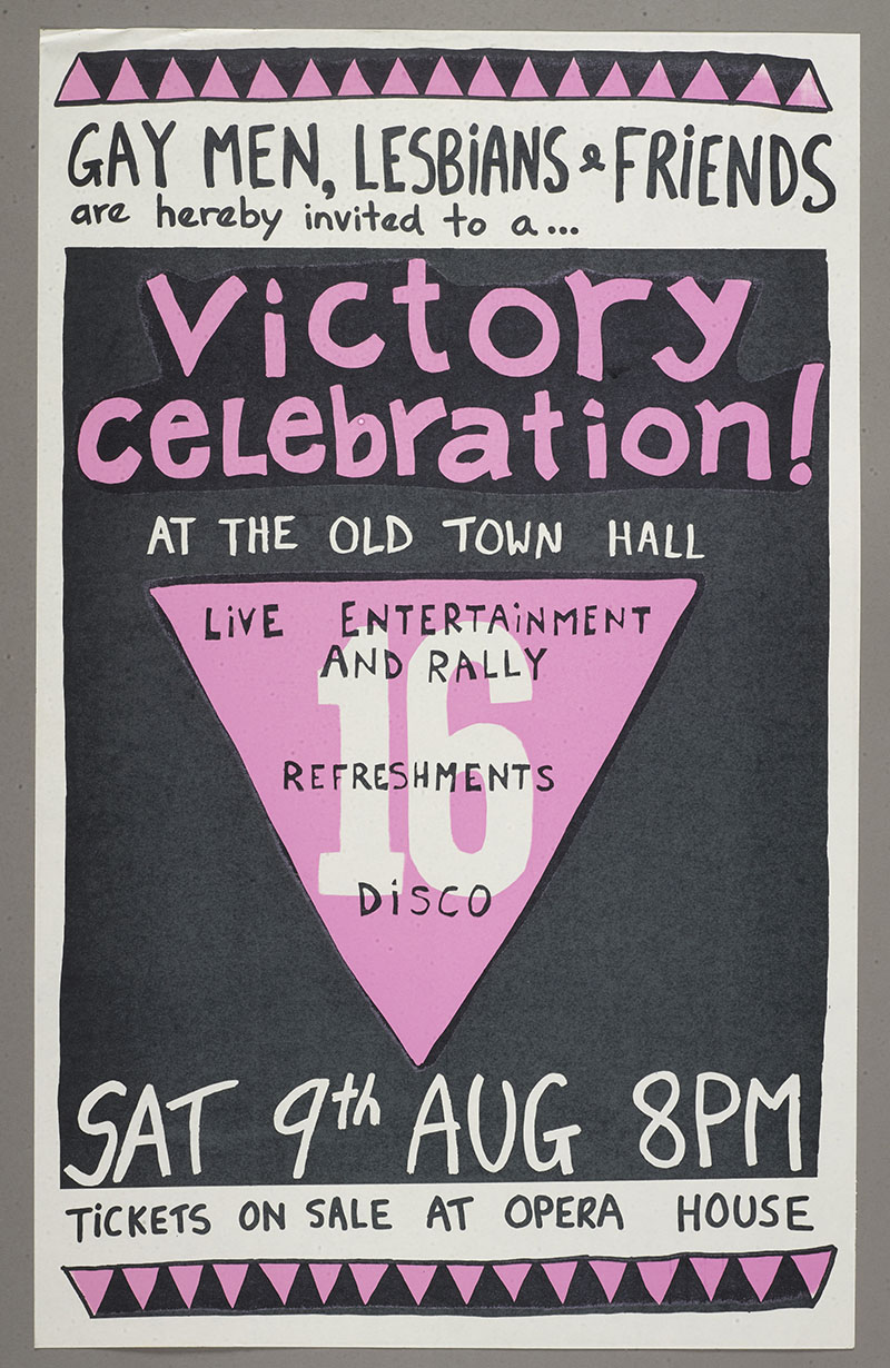 "Black, white, and pink poster with the following words on it: ""Gay men, lesbians and friends are hereby invited to a victory celebration at the Old Town Hall"" with the event details"