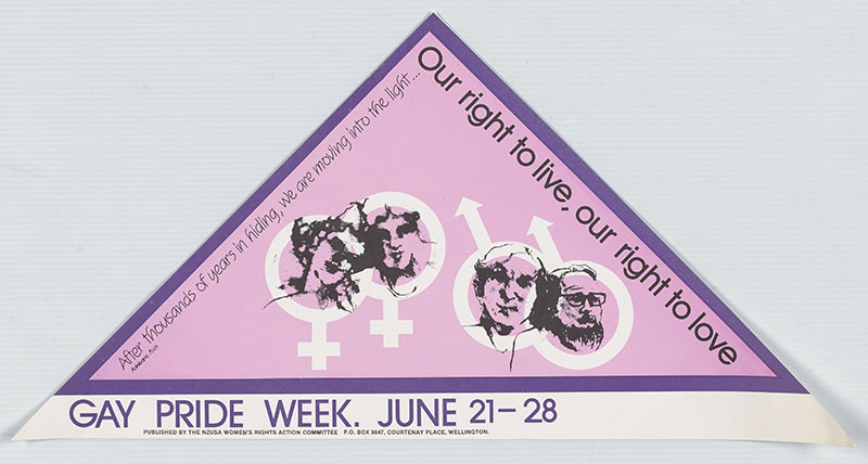 Triangular pennant featuring a pink triangle with purple border, and four faces on top of gender symbols