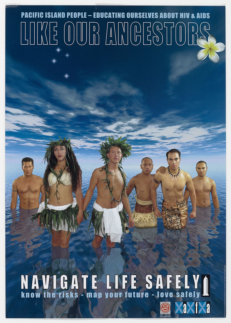 Poster featuring six people in traditonal Pacific clothing standing in a vast expanse of water with a vast skuy above them. The poster features the words 'Like out ancestors navigate life safely'