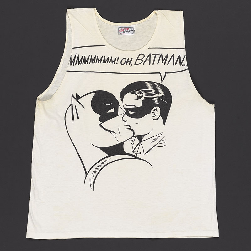 White singlet with a black and white illustration of Batman and Robin kissing
