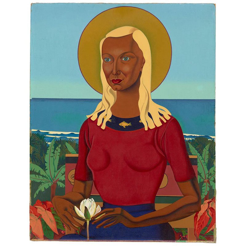 Painting of Rita Angus sitting with the ocean behind her and a yellow circle behind her head like an aura. She is holding a white flower