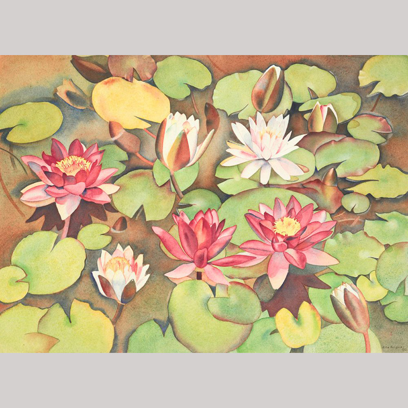 Painting of pink flowers sitting on green leaves in a brown pond