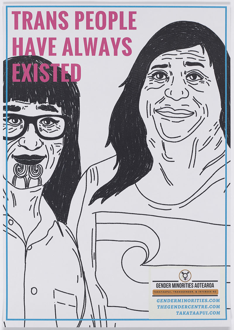 This poster features a powerful and positive image of trans people smiling at the viewer with the message 'Trans People Have Always Existed'