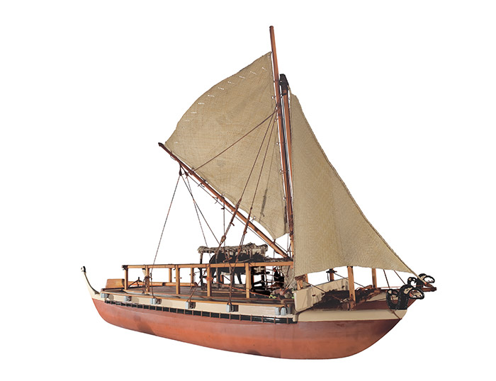 Waka hourua 'Te Aurere Iti' (model voyaging canoe), 1996-1997, Doubtless Bay, by Hek Busby. Purchased 1997 with New Zealand Lottery Grants Board funds. Te Papa (ME016510)