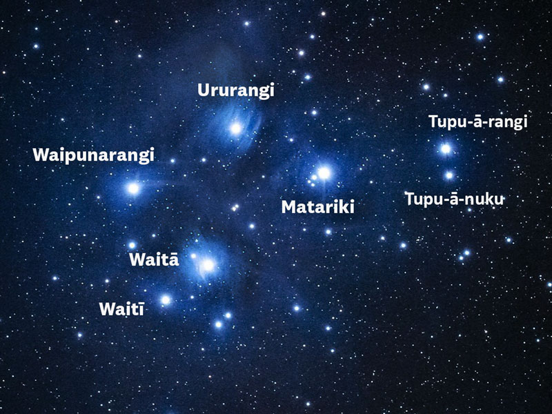 Matariki star cluster with the seven names of the stars