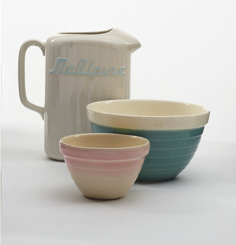 Crown Lynn mixing bowl and McAlpine fridge jug