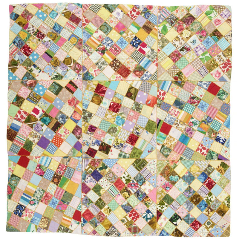 A patchwork quilt in lots of colours
