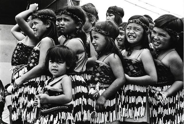 Young girls in traditional Māori costume about to performa Kapa Haka