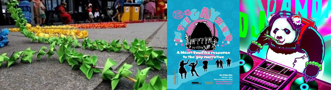 Three images in a row with a green leafy necklace on the ground, a poster in blue and pink with silhouettes of people, and a cartoon of a panda mixing music on a mixing deck
