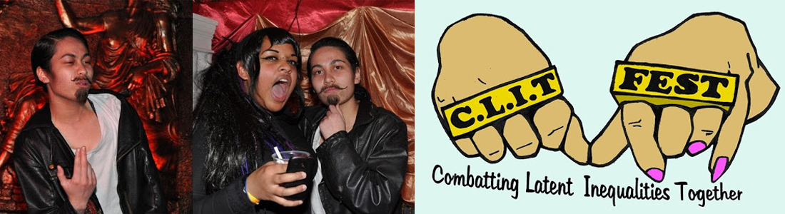 A person in a leather jacket looking off camera, two people looking at the camera and a poster of two hands with the words C.L.I.T. FEST written on knuckle-duster rings with the text below that says 'Combatting Latent Inequalities Together'