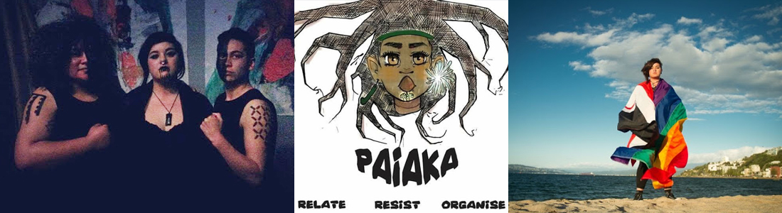 Three people in a dark room looking at the camera, A poster of a rastafarian head with the words 'Paiaka: Relate, resist, organise, and a photo of a person standing on a beach wrapped in a rainbow flag.