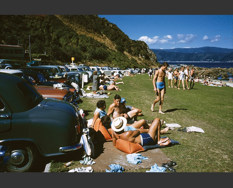 Photograph of people enjoying the sun at Scorching Bay, Wellington by Brian Brake
