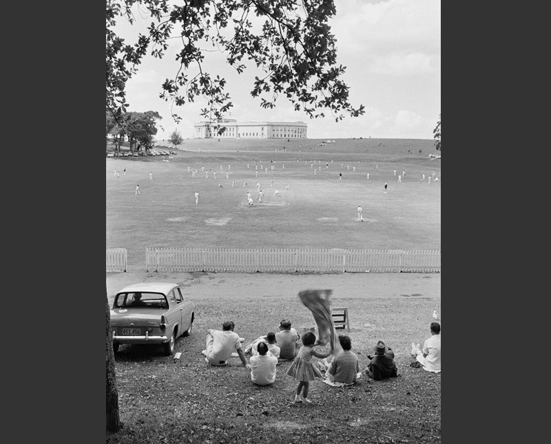 Photograph of a cricket match at Auckland Domain in 1960 by Brian Brake