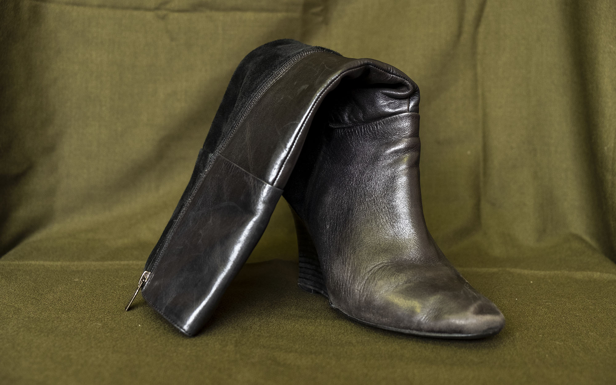 A high-leg leather boot