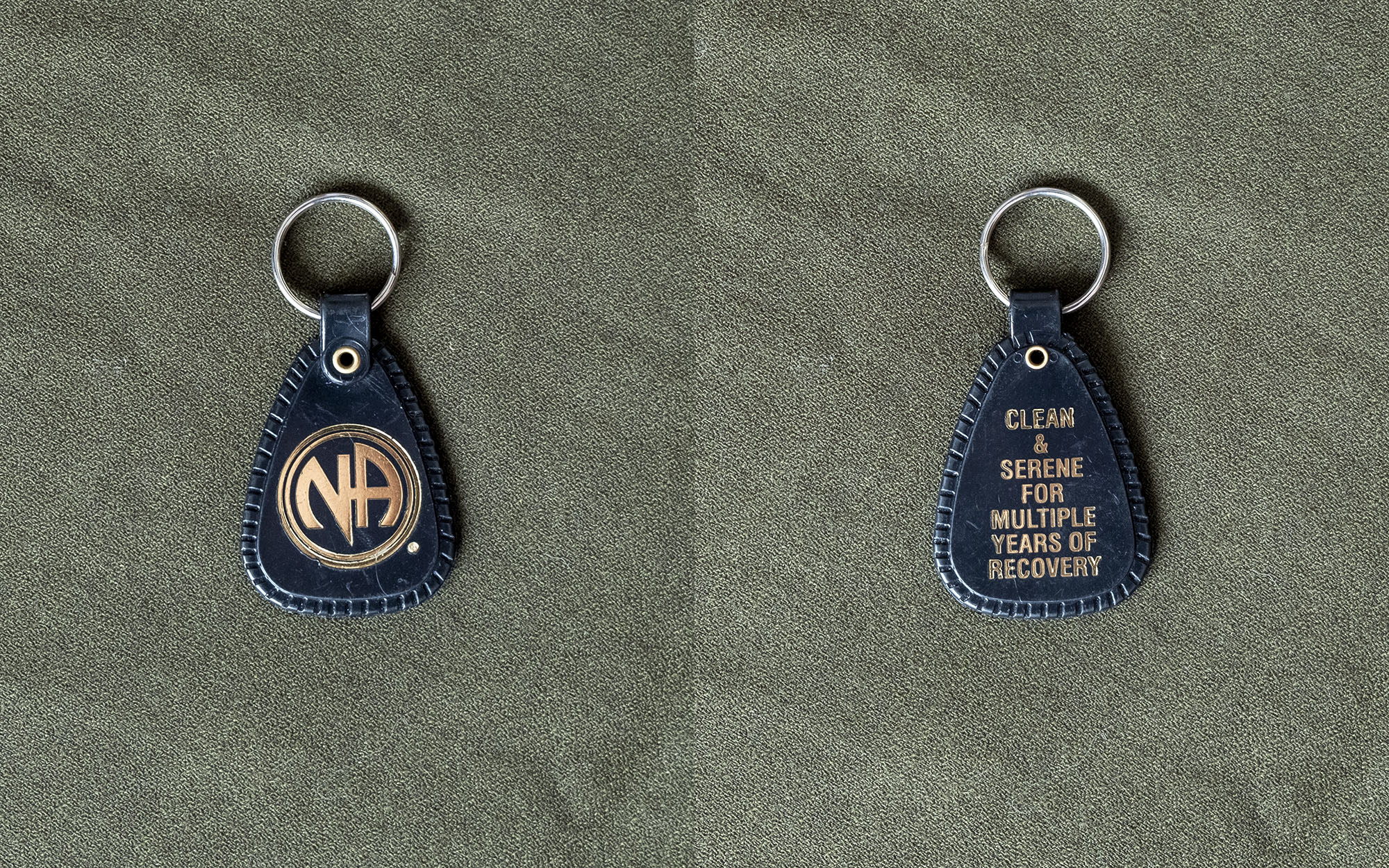 "Tag from Narcotics Anonymous that says ""Clean and serene for multiple years of recovery"""