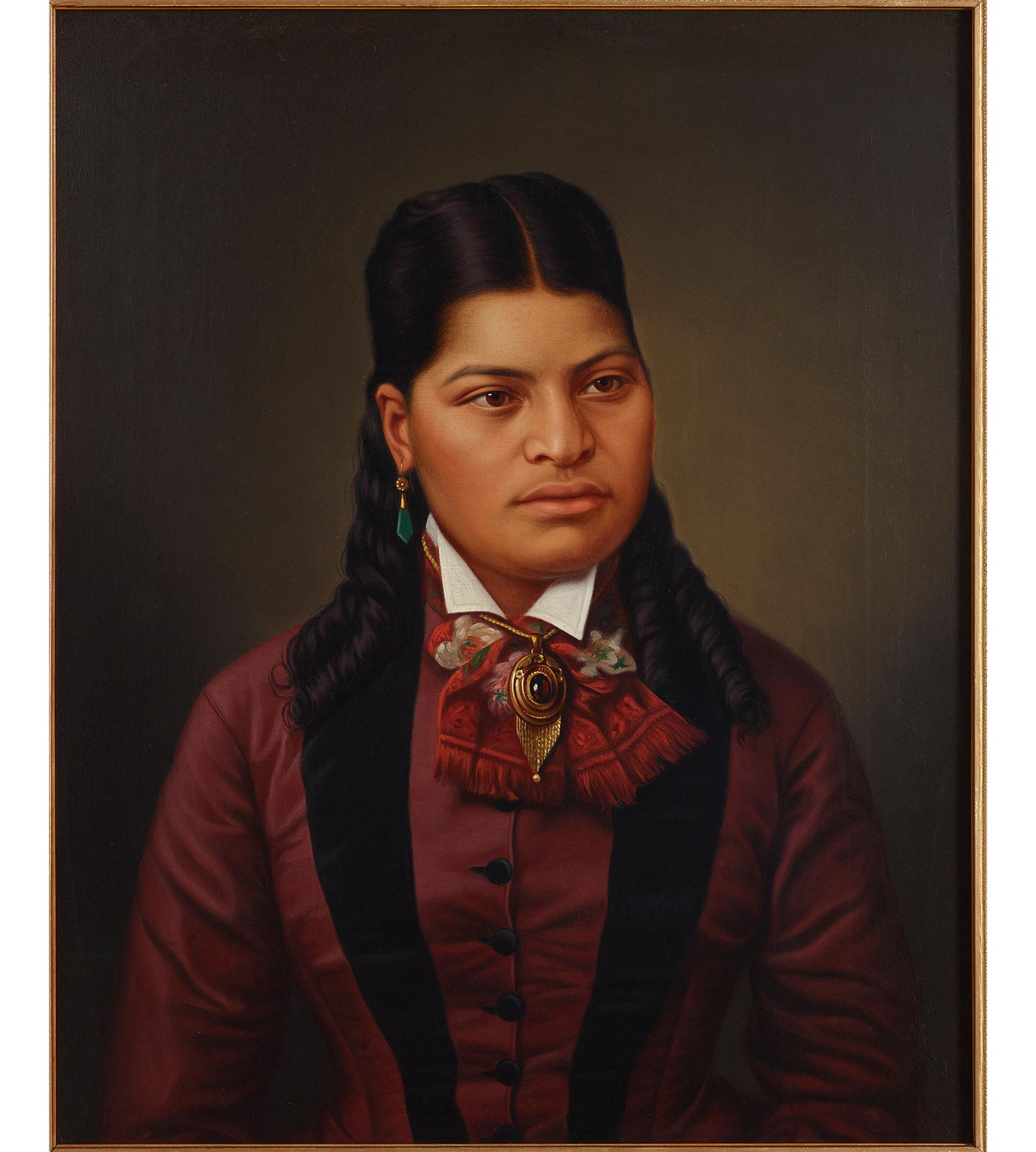 Oil painting of a Māori girl