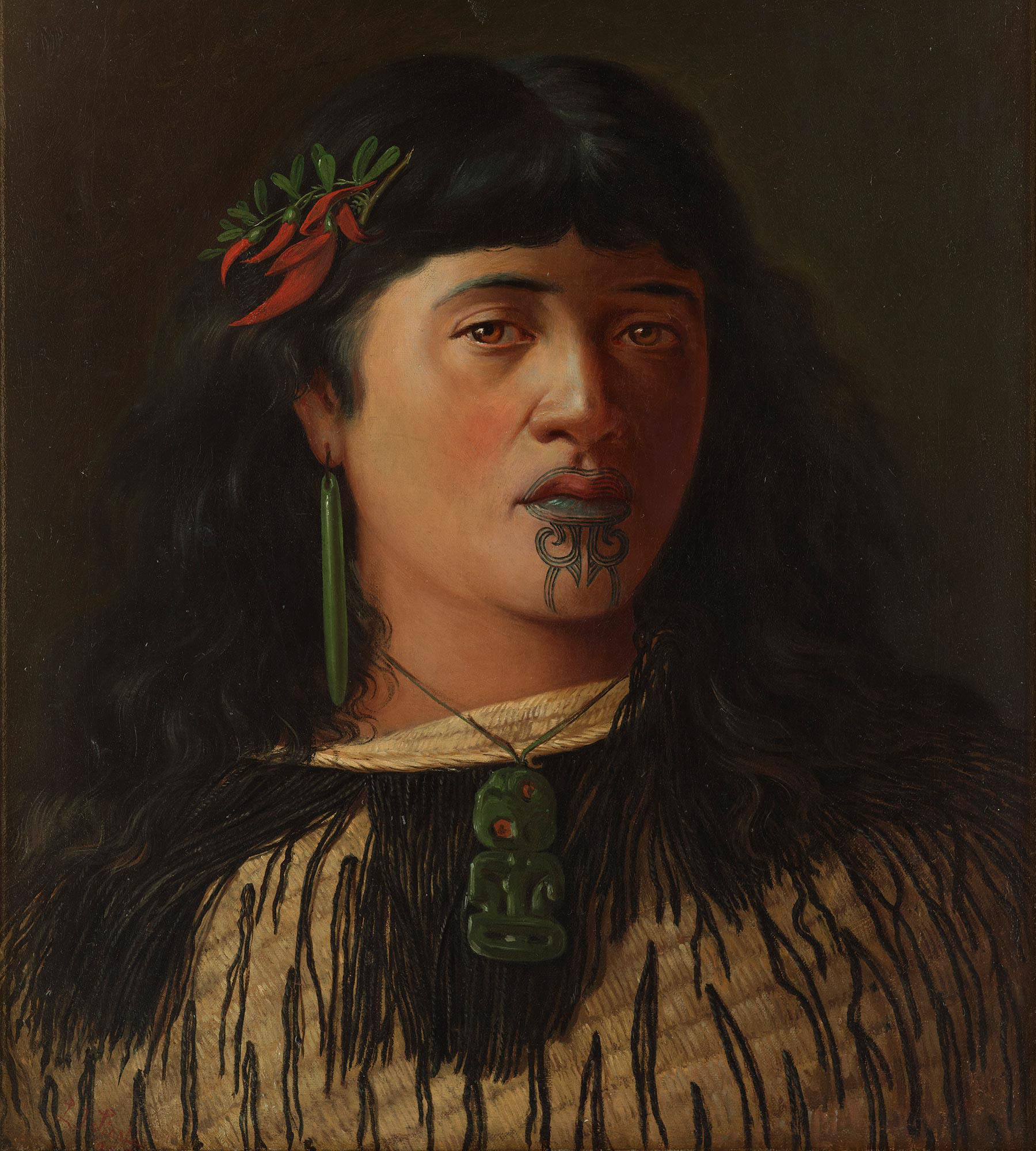 Oil painting of young Māori woman