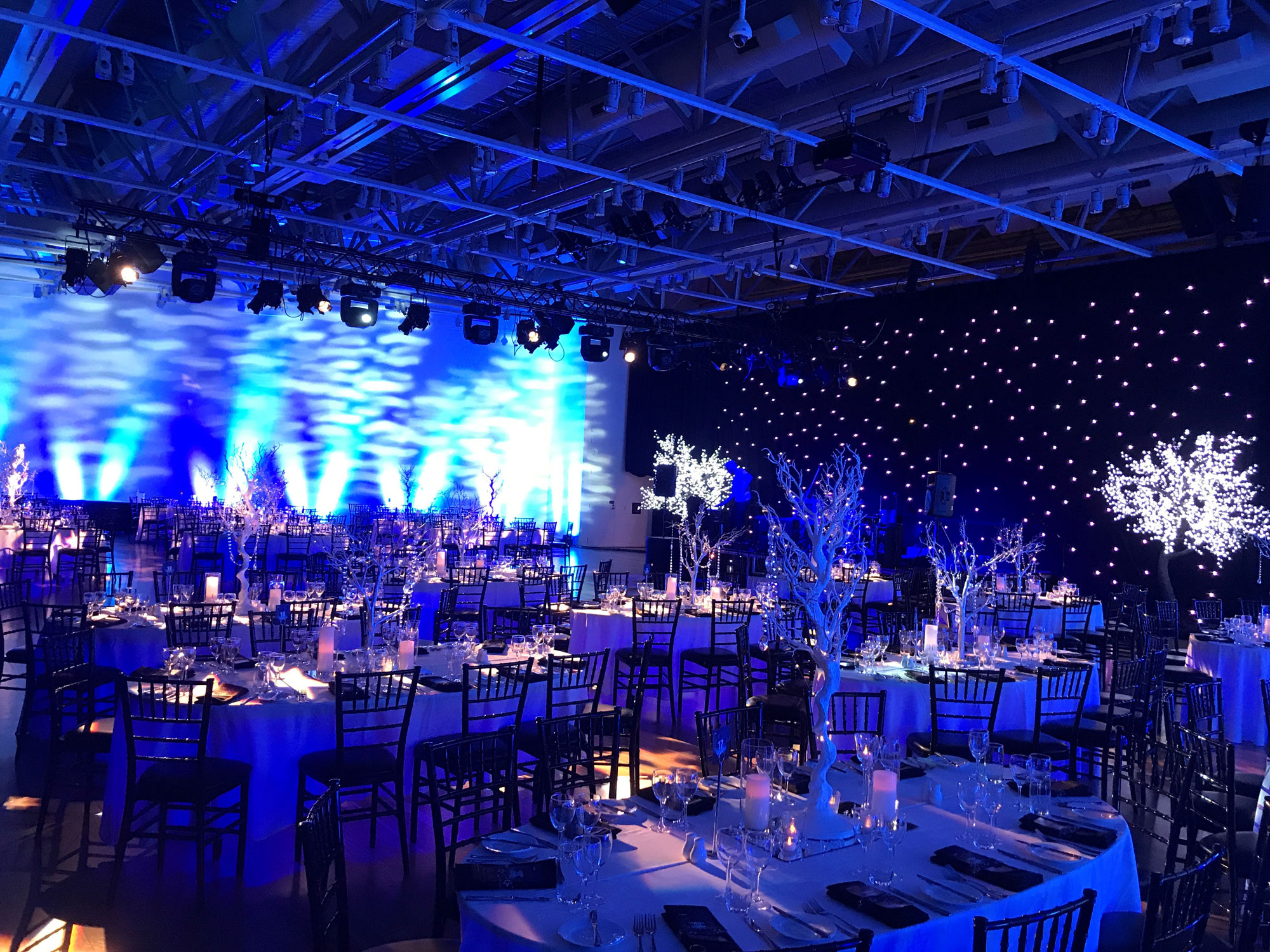 A room full of tables and sparkly trees