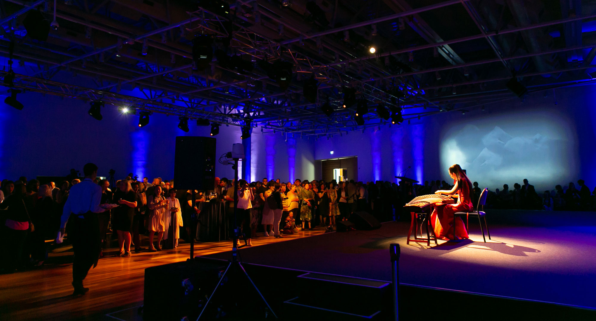 A crowd in a big function space watching a performance
