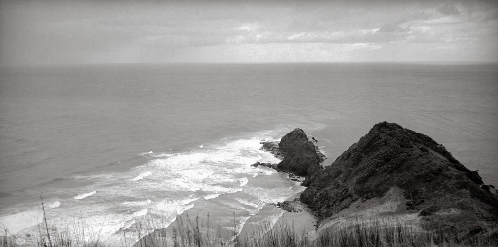 Black and white photograph of Cape Reinga, Northland