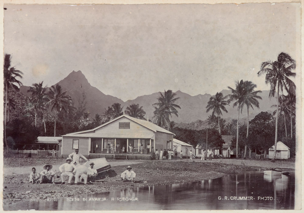 A village scene with mountains and palm trees