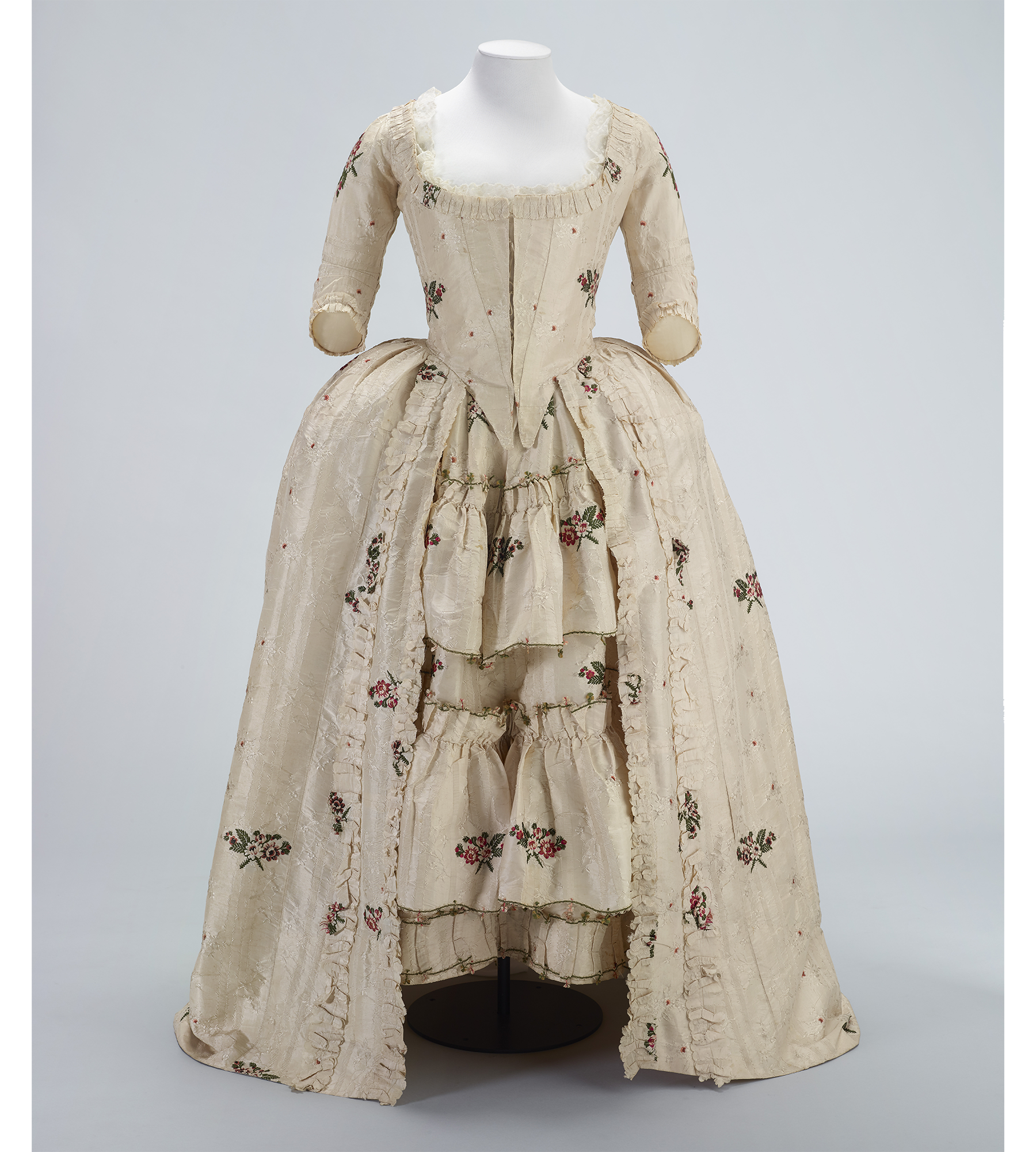 18th century cream embroidered dress